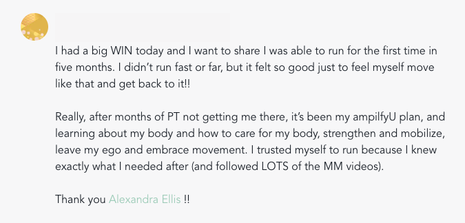 student testimonial and story inside movement mavens